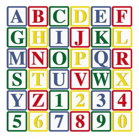 Fotobehang Blokken met Letters en Cijfers