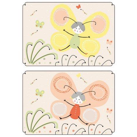 Fotobehang Vlinder Tegels Oranje Geel