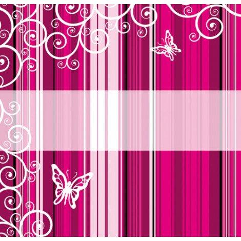 Fotobehang Roze Strepen met Vlinders