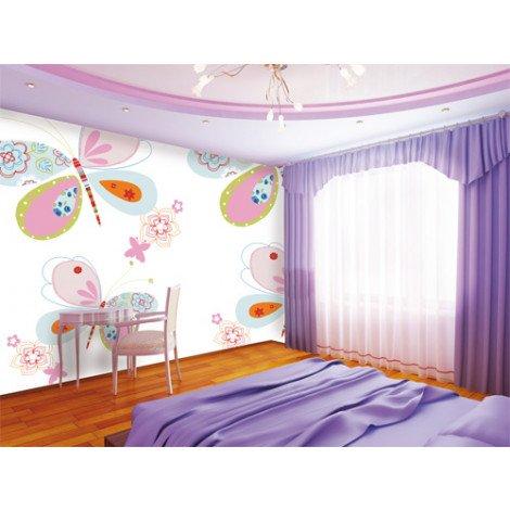 Fotobehang Vlinders Roze