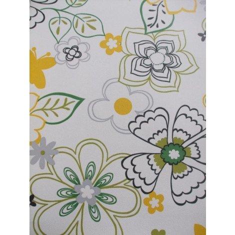 Fotobehang Tropische Bloemen Groen Geel