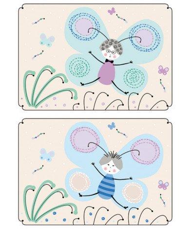 Fotobehang Vlinder Tegels Blauw