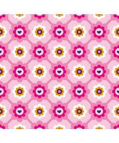 Fotobehang Roze Bloem Ruitjes