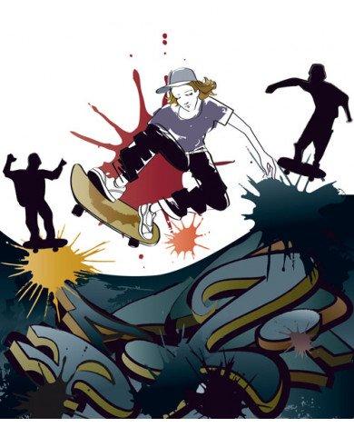 Fotobehang Skateboarder 1