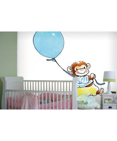 Fotobehang Monkey with a Balloon