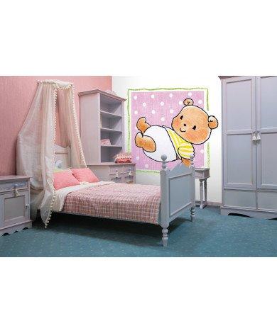Fotobehang Bear on Pink
