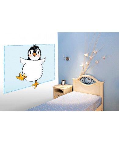 Fotobehang Penguin On Blue