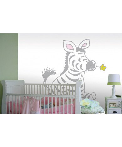 Fotobehang Sitting Zebra in Light Grey
