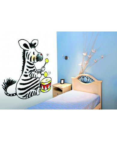 Fotobehang Zebra With Drum