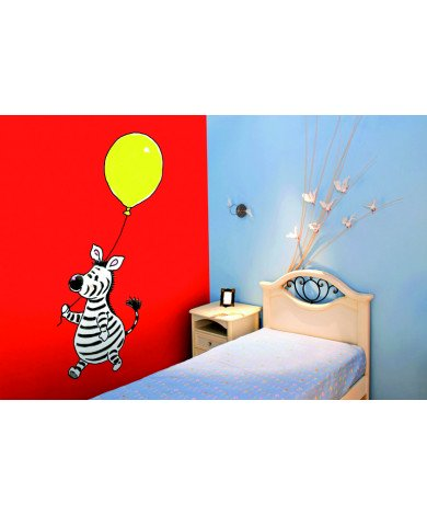 Fotobehang Zebra With A Balloon