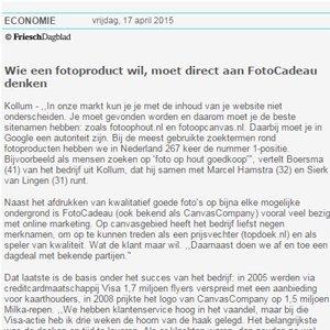 Krantenbericht Frieschdagblad Canvascompany